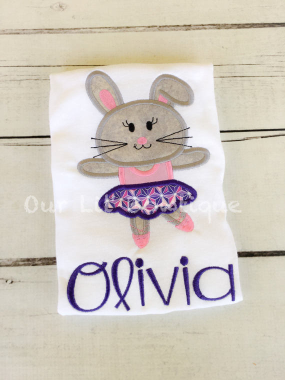 Ballerina Easter Bunny Applique Shirt - Girl - Girls Easter Shirt - Ballet -Personalized Easter T- Shirt - My 1st Easter Shirt - Ballerina