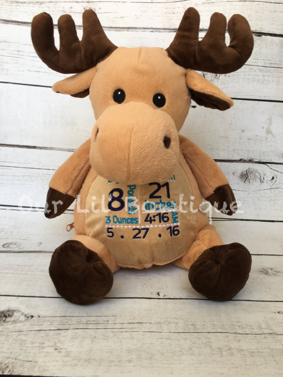Moose - Personalized Stuffed Animal - Personalized Animal - Personalized Moose