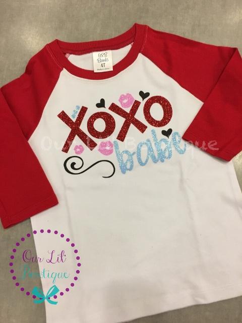 Valentine's Day Shirt - Personalized Valentine's Day Shirt - Valentine Raglan - XOXO Babe - Valentine Shirt