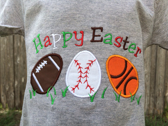 Happy Easter Sports Egg Shirt - Personalized Easter T- Shirt - Sports Eggs - Personalized Boys Easter Shirt - Sports Easter Shirt