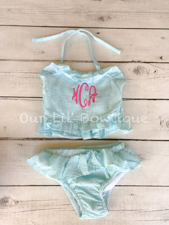 Monogrammed Seersucker Bathing Suit - Bathing Suit - Baby - Toddler - Personalized Bathing Suit - Kids Bathing Suit - Gingham