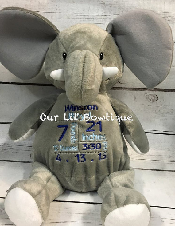 Elephant - Personalized Stuffed Animal - Personalized Animal - Personalized Elephant