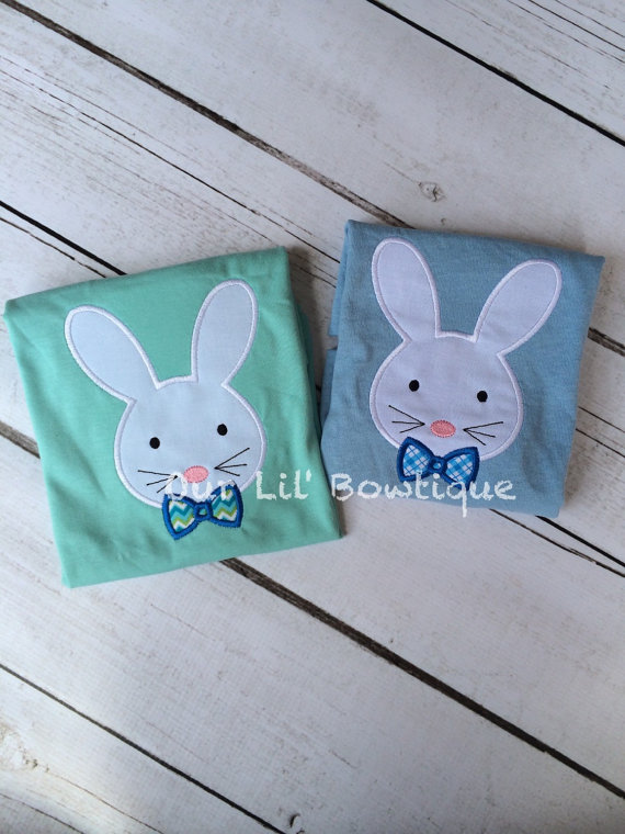Easter Bunny Applique Shirt - Boy's Easter Shirt - Boy Bunny Shirt - Personalized Easter T- Shirt - My 1st Easter Shirt