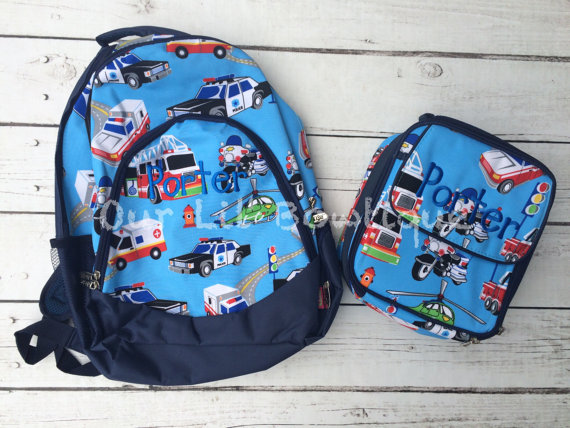Transportation Personalized Backpack - Monogrammed Backpack- Personalized Bag - Backpacks - Cars - Police Car - Firetruck - EMT