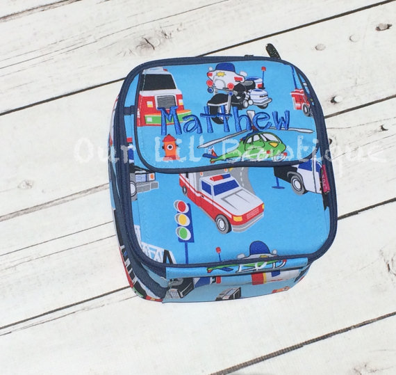 Quilted Personalized Backpack - Monogrammed Backpack- Personalized Bag - Backpacks - Quilted - Car - Police - Firetruck - First Responders