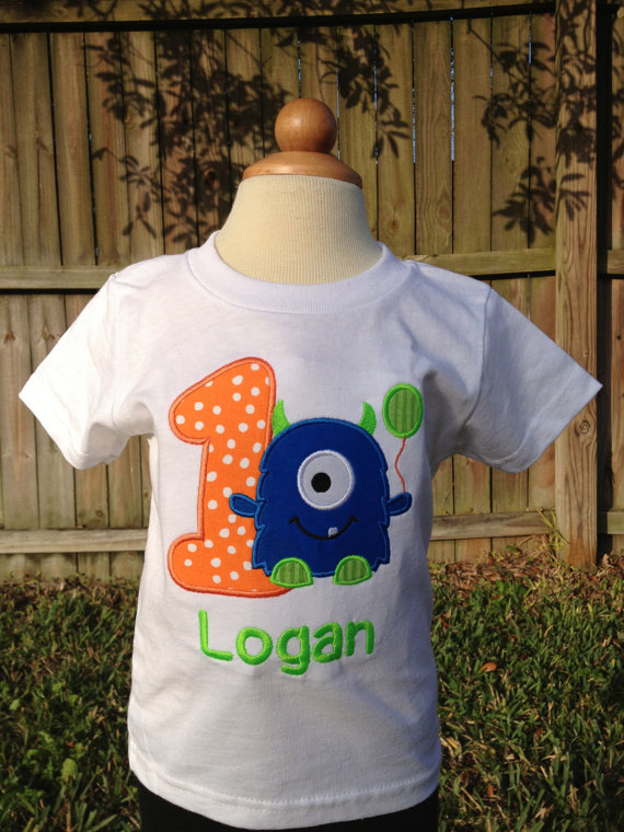Monster Themed Birthday Shirt With Balloon