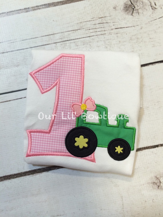 3115624f6 Girl Tractor Shirt - Tractor Birthday Shirt - Girls Tractor - Birthday Shirt  - Boy - Girl - Tractor Birthday Party