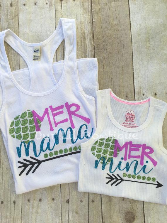 Mermaid Mommy & Me Tank Top - Mommy and Me Tanks - Mer Mama - Mer Mini - Mini Me - Mermaid Shirts - Mothers Day