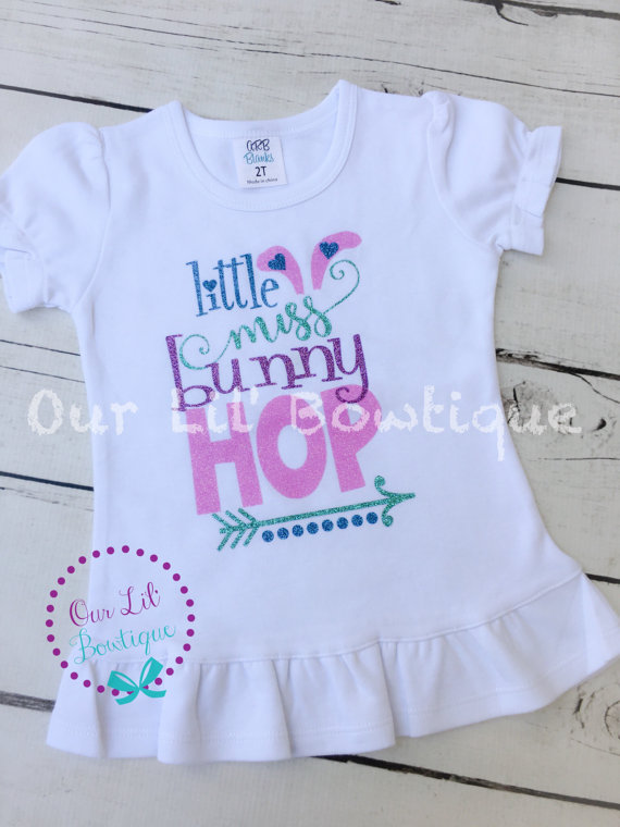 Little Miss Bunny Hop - Easter Shirt - Girls Easter Shirt - Easter - Easter Bunny Shirt - Personalized Easter Shirt - Glitter