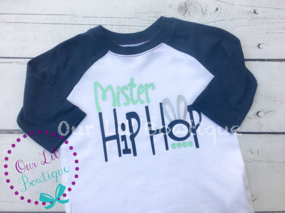 Mister Hip Hop - Mister Hip Hop Shirt - Easter Shirt - Personalized Easter Shirt - Boys Easter Shirt -Raglan - Navy and Mint