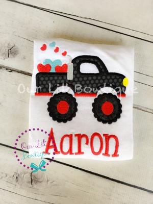 Valentine Monster Truck - Boy's Monster Truck - Personalized Valentine Shirt - Valentine Truck Shirt - Valentine Truck -Boys Valentine Shirt