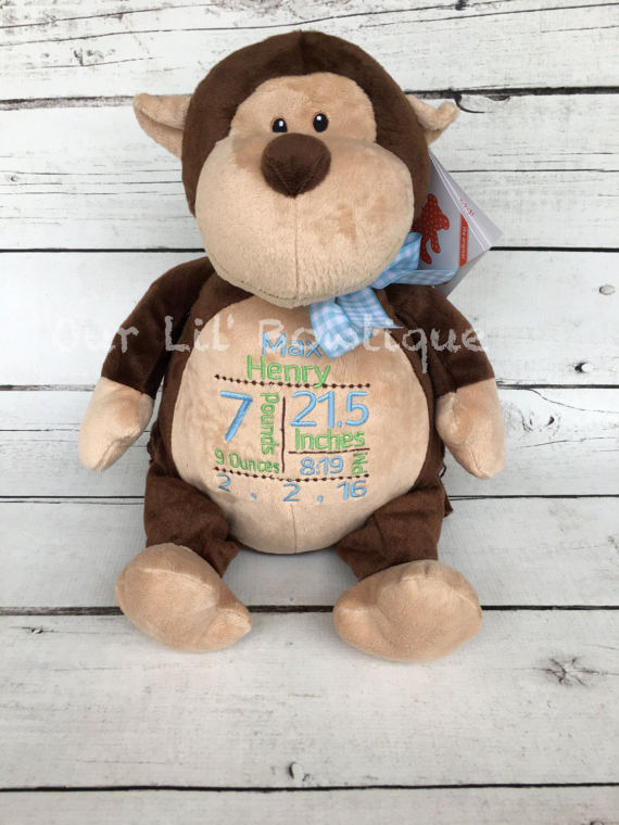 Monkey - Personalized Stuffed Animal - Personalized Animal - Personalized Monkey