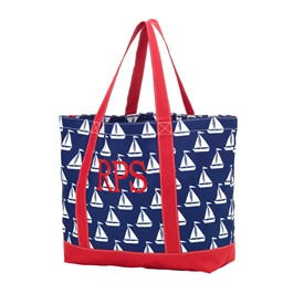 Sailboats - Personalized Tote Bag - Striped Bag - Large Tote Bag - Personalized - Monogrammed - Beach Bag - Kids Personalized Tote Bag - Boy