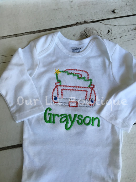 ffcc03453 Old Christmas Truck - Boy's Christmas Truck- Christmas Tree - Boy- Girl -  Toddler - Infant - Baby - Personalized Shirt