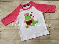 Valentine's Dragon Shirt - Personalized Valentine Shirt -Raglan- Girl Dragon - Girls Valentine Shirt -Dragon Shirt