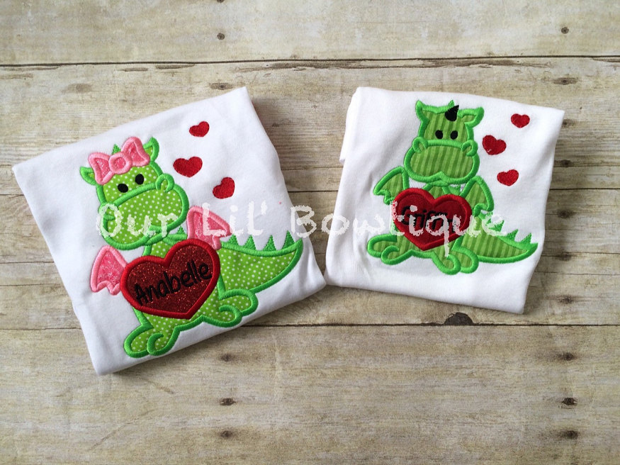 Valentine's Dragon Shirt - Personalized Valentine Shirt - Boys Valentine Shirt - Raglan- Boy Dragon -Applique - Dragon Applique -Personalize