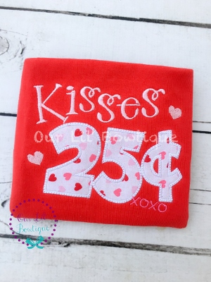 Valentine's Shirt - Kisses .25 - Kisses 25 Cents - Personalized Valentine Shirt - Girls Valentine Shirt - Valentine Kisses - Red Valentine