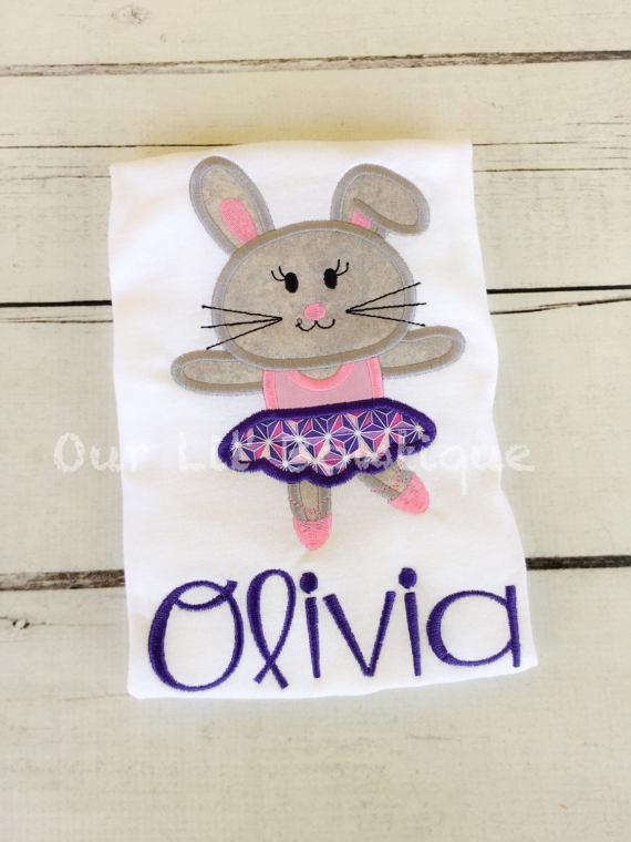 Ballerina Easter Bunny Applique Shirt - Girl - Girls Easter Shirt - Ballet -Personalized Easter T- Shirt - My 1st Easter Shirt - Ballerina