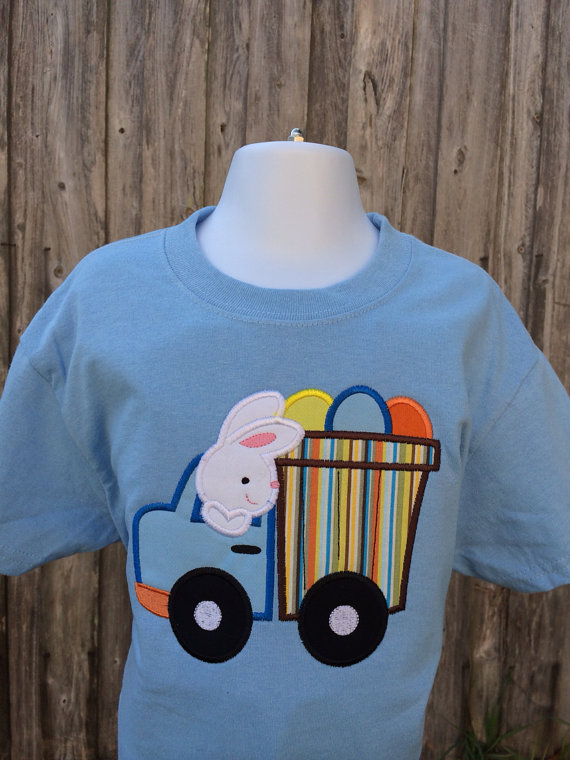 Easter Bunny Applique Shirt - Personalized Easter T- Shirt - My 1st Easter Shirt - Easter Truck - Boys Personalized Easter Shirt