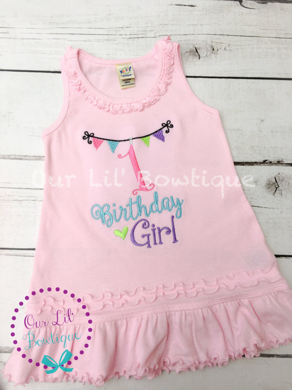 Birthday Dress - First Birthday Outfit - first birthday outfit - Colorful Birthday - Pennant Birthday - Fun Birthday Dress - Pennant Birthday