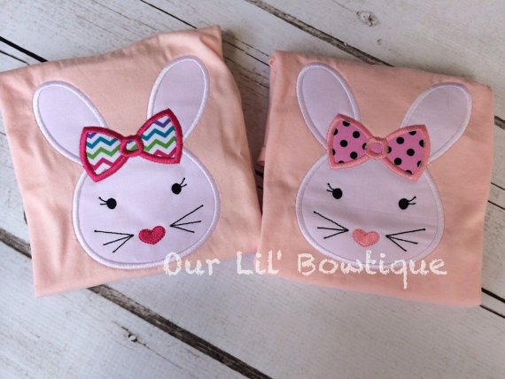 Easter Bunny Applique Shirt - Personalized Easter T- Shirt - My 1st Easter Shirt - Girls Easter Shirt - Girls Personalized Easter Shirt
