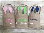 Burlap Bunny Ear Easter Bag - Bunny Basket - Monogrammed- Personalized Bag - Personalized Easter Basket - Toy Bucket - Personalized Toy Buck