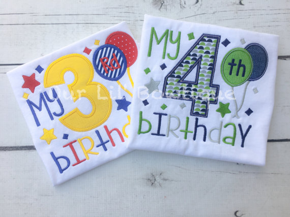 Boys Birthday Shirt - Personalized Birthday - My 4th Birthday - My 3rd Birthday Shirt - Personalized Birthday Shirt - Balloons