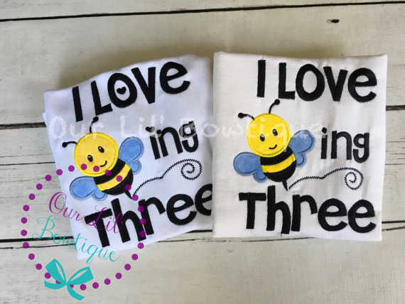 I Love Beeing 3 Shirt - Birthday Shirt- Personalized Birthday Shirt - Personalized Star Girl - 3rd Birthday - Bee Birthday - Twins
