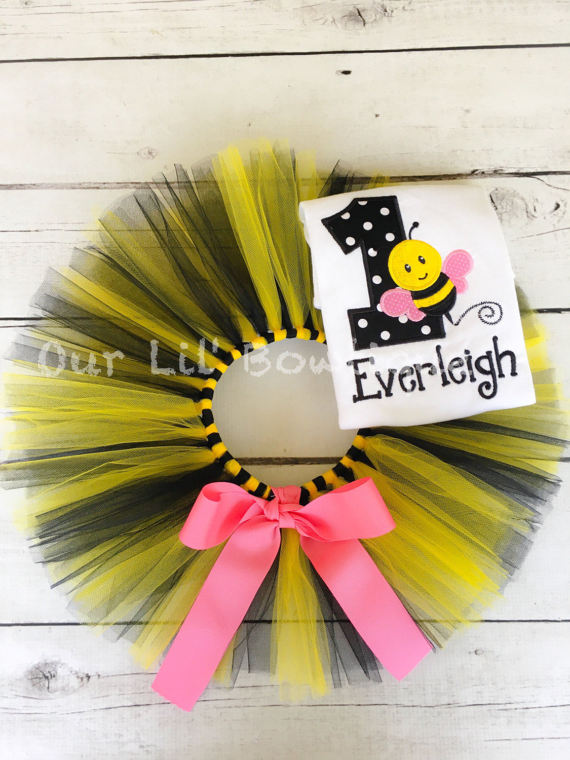 Bee Birthday Shirt- Personalized Birthday Shirt - Personalized Girl - 1st Birthday Outfit - Tutu - Bee - Bumble Bee Birthday Shirt - Pink