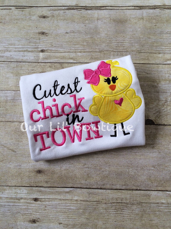 Easter Chick Applique Shirt - Easter - Girl - Chick with Necklace - Personalized Easter T- Shirt - Cutest Chick in Town - Easter Applique