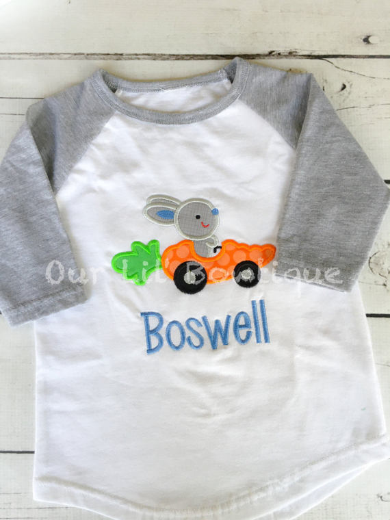Easter Car - Easter Truck - Easter Egg Truck - Personalized Shirt - Raglan - Carrot - Easter Bunny Car - Boys Easter Shirt