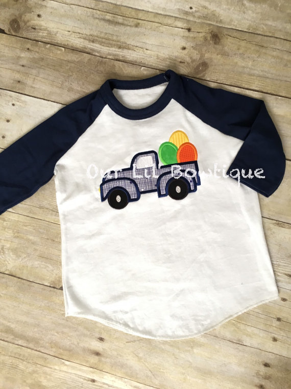 Easter Truck - Boy's St. Patrick's Truck- Easter Egg Truck - Boy- Girl - Toddler - Infant - Baby - Personalized Shirt - Raglan