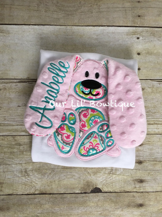 Easter Bunny Applique Shirt - Girl -Personalized Easter T- Shirt - My 1st Easter Shirt - Floppy Ear Bunny Shirt - Easter Applique