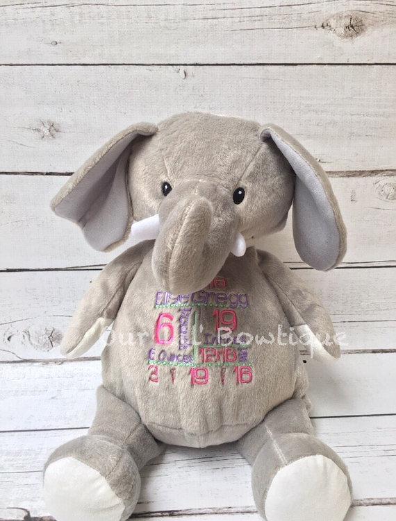 Elephant - Personalized Stuffed Animal - Personalized Animal - Personalized Elephant