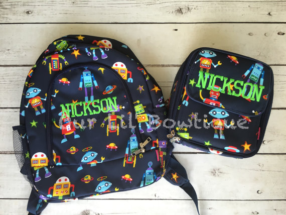 Robot Personalized Backpack - Monogrammed Backpack- Personalized Bag - Backpacks - Cars - Canvas Backpack - Robots