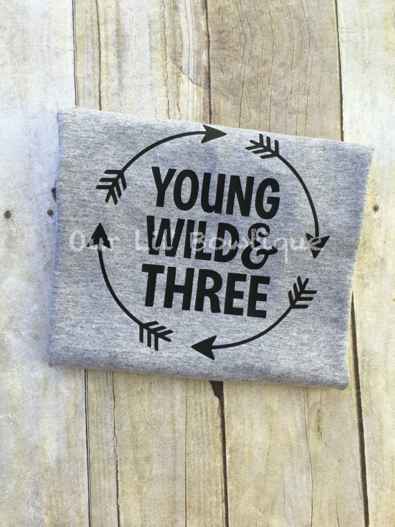 Young Wild & Three - Birthday Shirt- Personalized Birthday - Personalized - Birthday Shirt - Birthday - 3rd Birthday