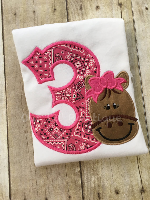 Horse Birthday Shirt- Horse Birthday - Pony Shirt - Girl's Pony Birthday Shirt - Personalized Horse - Pony Birthday - Pink Bandana