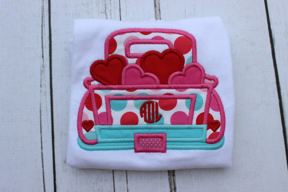 Valentine's Truck Shirt - Personalized Valentine Shirt - Girl - Toddler - Baby - Truck - Heart Truck - Monogram Truck