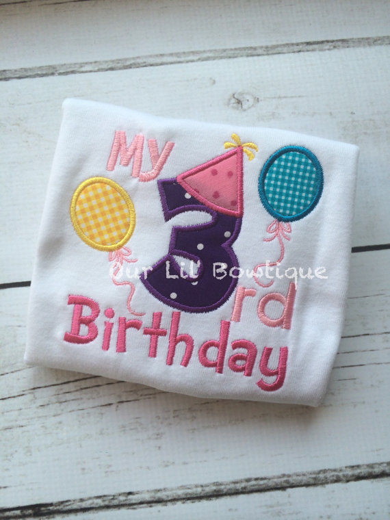 3rd Birthday Shirt- Personalized Birthday - Personalized - Girl - Toddler - Baby - Birthday Shirt