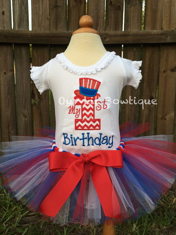 4th of July Birthday - My 1st Birthday Day Shirt - Fourth of July Shirt - Personalized 4th of July Shirt - Girl - Babies 1st Fourth of July