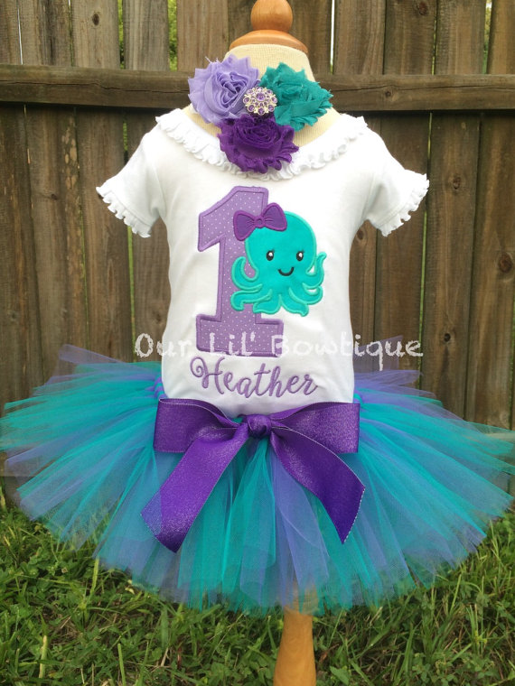 Octopus Birthday Shirt- Personalized Birthday Shirt - Personalized Octopus - 1st Birthday Outfit - Tutu - Lavender & Aqua - Under the Sea