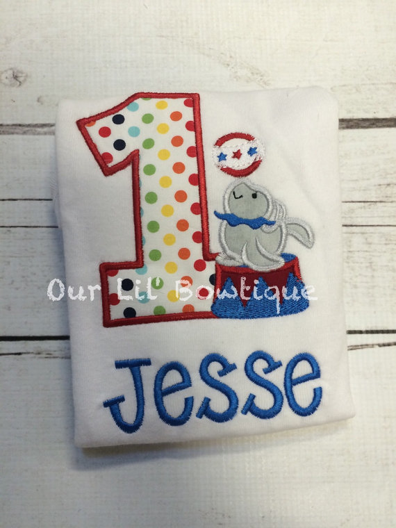 Circus Birthday Shirt- Personalized Birthday Shirt - Personalized Circus - 1st Birthday Outfit - Girl or Boy - Tutu - Seal