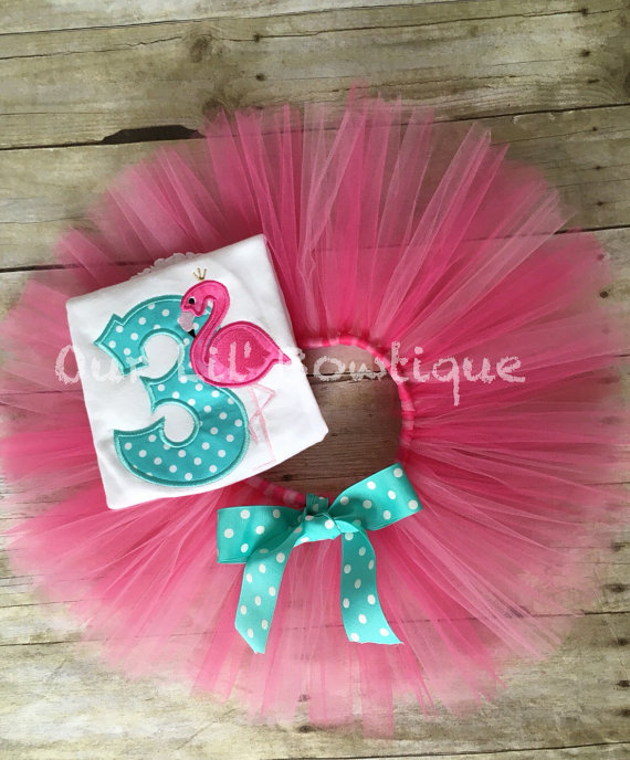 Flamingo Birthday Shirt - Let's Flamingle -Personalized Birthday Shirt - Personalized Flamingo - 1st Birthday Outfit - Tutu - Pink - Aqua