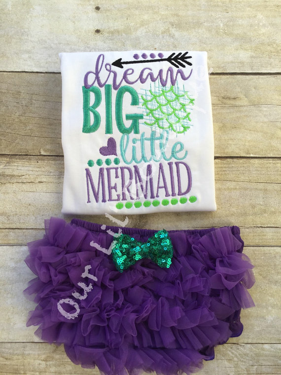 Mermaid Outfit - Mermaid Birthday - Dream Big Little Mermaid - Ruffle Bloomers - Mermaid - Onesie - Girls - Baby Gift - Mermaid Ruffle Shirt
