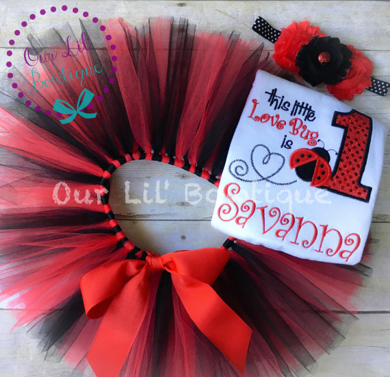 Lady Bug Birthday Shirt- Personalized Birthday Shirt - Personalized Star Girl - 1st Birthday Outfit - Tutu - Love Bug - Ladybug