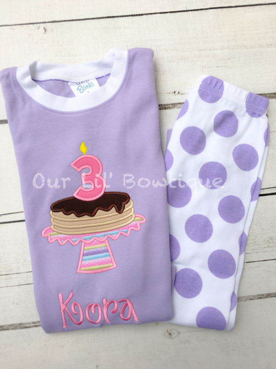 Pancake personalized Birthday Shirt - Pancake Personalized PJs - Personalized Pancake Shirt - Pancake Birthday - Pancake Applique - Lavender
