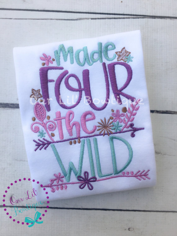 Made Four The Wild - Wild and Four Birthday Shirt- Personalized Birthday - Personalized - Birthday Shirt - 4th Birthday Shirt - Dress