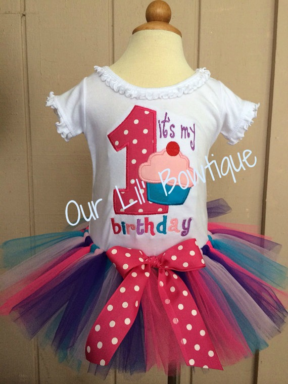 Birthday Cupcake Shirt - My 1st Birthday Tutu Set - My First Birthday