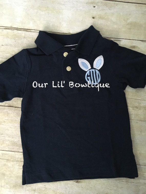 Easter Polo -Bunny Polo - Easter Bunny Polo - Bunny Monogram - Monogram - Boys Easter Shirt - Bunny Ears Monogram - Monogrammed Polo
