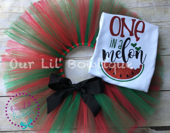 One in a Melon - First Birthday Outfit - One - 1st Birthday Outfit - Watermelon Birthday Shirt - Glitter - Tutu - One Birthday Outfit - Fruit Birthday - First Birthday Tutu